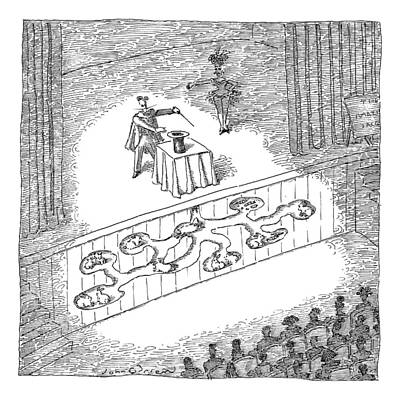 Rabbit Drawing - A Magician Is Seen On Stage by John O'Brien
