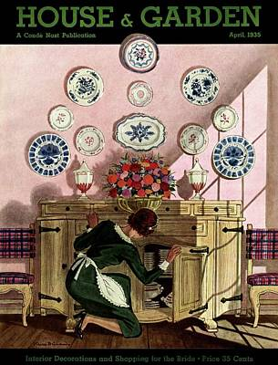 Tableware Photograph - A Maid Getting China From A French Provincial by Pierre Brissaud