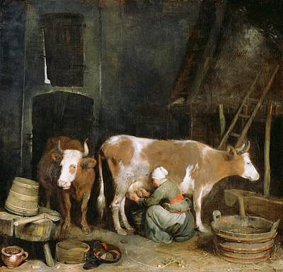 Old Barn Painting - A Maid Milking A Cow In A Barn by Gerard ter Borch