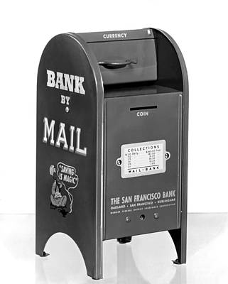 Piggy Bank Wall Art - Photograph - A Mail Box Bank by Underwood Archives