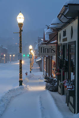 Winter Storm Photograph - A Maine Street Christmas by Patrick Downey