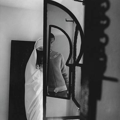 A Male Model Posing In A Mirror With A Woman Art Print by Chadwick Hall