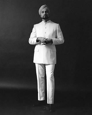 A Male Model Wearing A Custom-tailored Gaberdine Art Print by Leonard Nones