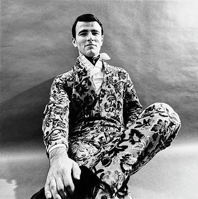 A Male Model Wearing A Linen Evening Suit Print by Leonard Nones