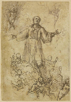 Pedro Drawing - A Male Saint In Glory Attributed To Pedro Atanasio Bocanegra by Litz Collection