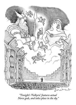 Theater Drawing - A Man Addresses A Large Theater by David Borchart