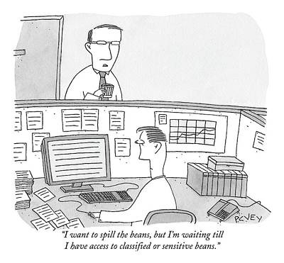 Manning Drawing - A Man Addresses His Coworker In A Cubicle by Peter C. Vey