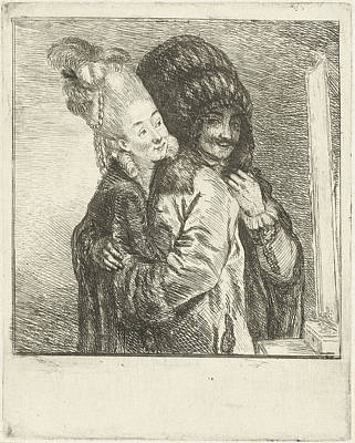 Mirror Drawing - A Man And A Woman Dressing In Front Of The Mirror by Louis Bernard Coclers