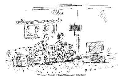 Extremes Drawing - A Man And A Woman Sit In A Living Room Watching by Barbara Smaller