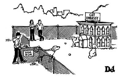 House Cats Drawing - A Man And Dog Enter A Dog Run by Drew Dernavich