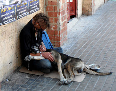 Homeless Pets Painting - A Man And Dog In Valencia by Rosie Brown