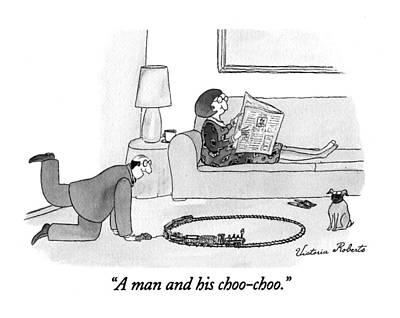 Trains Drawing - A Man And His Choo-choo by Victoria Roberts
