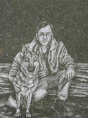 A Man And His Dog Art Print by Dennis Pintoski