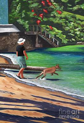 A Man And His Dog Art Print by Laura Forde