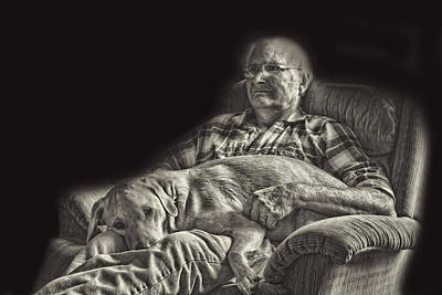 A Man And His Dog Print by Linda Phelps