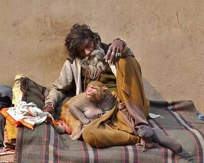 Photograph - A Man And His Monkey - Varanasi India by Kim Bemis