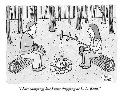 Wilderness Drawing - A Man And Woman Are Camping And The Woman Roasts by Amy Hwang