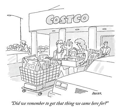 A Man And Woman Leave Costco With A Large Amount Art Print by Jack Ziegler