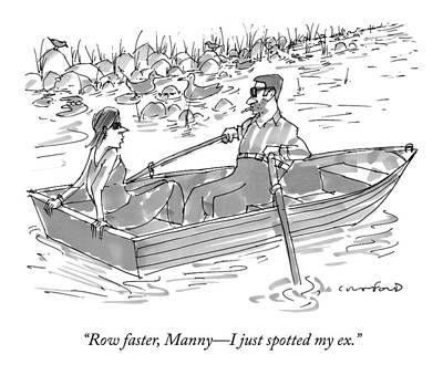 A Man And Woman On A Row Boat Pass By A Man Art Print