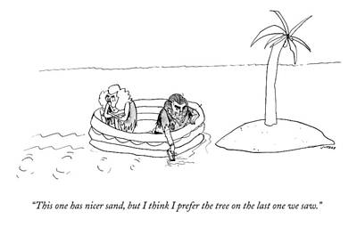 A Man And Woman Paddle A Raft Toward A Small Art Print