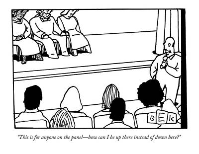 Audience Drawing - A Man Asking A Question At A Panel Lecture by Bruce Eric Kaplan