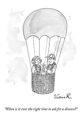 A Man Asks A Woman In A Hot-air Balloon Art Print
