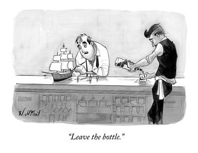 Ship In A Bottle Drawing - A Man At A Bar With A Model Sailboat Speaks by Will McPhail