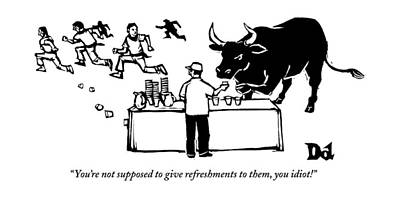 The Bull Drawing - A Man At A Table Hands Out Cups Of Water by Drew Dernavich