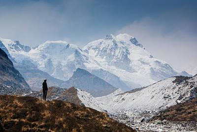 A Man Contemplates The Size Of Kanchenjunga Art Print