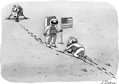 Astronauts Drawing - A Man Crawls Uphill Towards An Astronaut With An by Joe Dator
