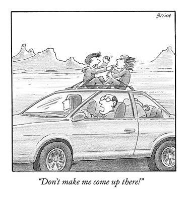 Family Car Drawing - A Man Drives A Car by Harry Bliss