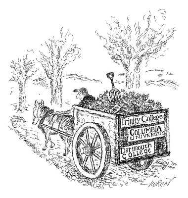 League Drawing - A Man Drives A Horse-drawn Cart With Bumper by Edward Koren