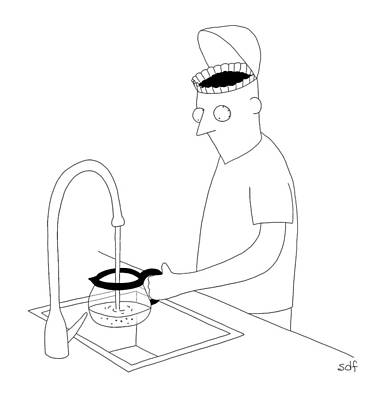 Pot Drawing - A Man Filling Up His Coffee Pot by Seth Fleishman