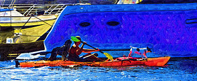 A Man His Kayak And His Dogs Art Print