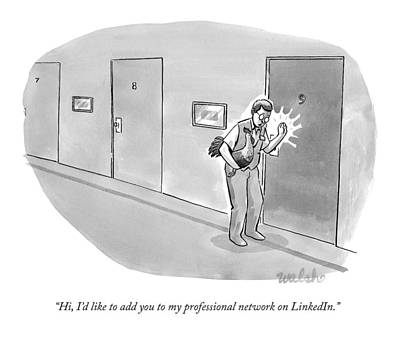 Social Media Drawing - A Man Holding A Rooster Knocks Someone's Door by Liam Walsh