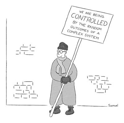Random Drawing - A Man Holds A Sign That Reads by Jacob Samuel