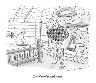 Log Cabin Drawing - A Man In A Log Cabin Wears A Flannel Shirt by Trevor Spaulding