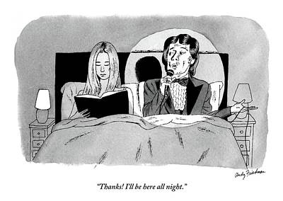 Night Drawing - A Man In A Performer's Tuxedo Lies In Bed Next by Andy Friedman