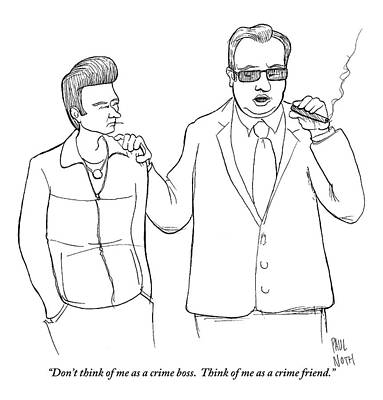 Boss Drawing - A Man In A Suit Smoking A Cigar by Paul Noth