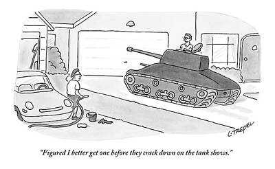 Military Drawing - A Man In A Tank Pulls Into His Driveway by Larry Trepel