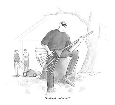 Julia Suits Drawing - A Man In A Yard Holds A Rake As Though by Julia Suits