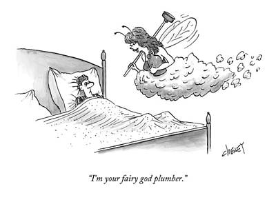 Plumber Drawing - A Man In Bed Sees A Tooth Fairy-like Figure by Tom Cheney