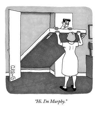 Murphy Drawing - A Man Is Laying On The Murphy Bed That A Woman by J.C.  Duffy
