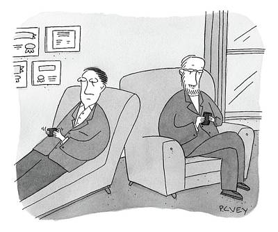 Drawing - A Man Is On The Couch In His Therapist's Office by Peter C. Vey