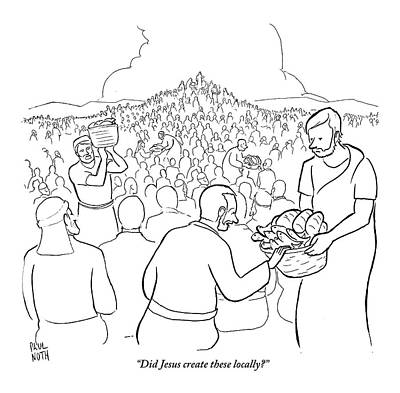 Bible Drawing - A Man Is Passing Out Loaves And Fish To A Large by Paul Noth