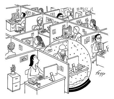 Cubicle Drawing - A Man Is Seen Sitting In An Oversized Snow Globe by Felipe Galindo