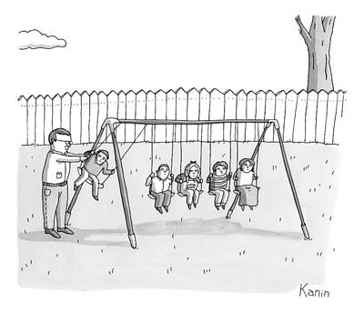 Playground Drawing - A Man Is Seen Swinging A Group Of Kids Like A Set by Zachary Kanin