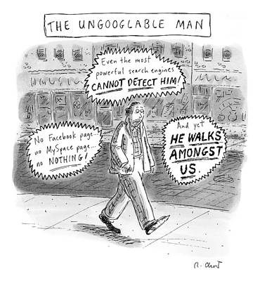 A Man Is Seen Walking Down The Sidewalk With Word Art Print by Roz Chast