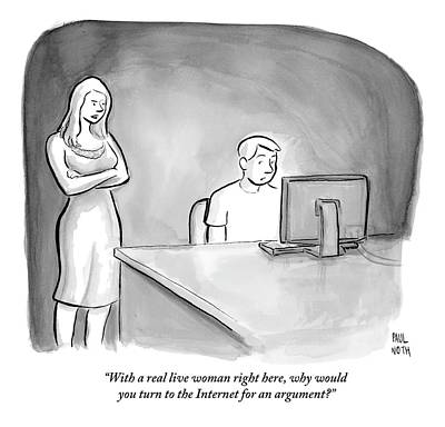 Computer Drawing - A Man Is Sitting At A Desk Looking At A Computer by Paul Noth
