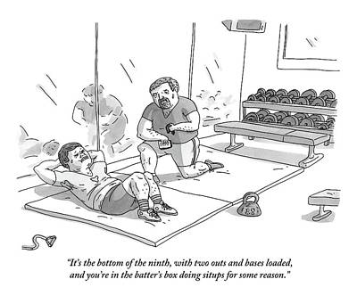 Drawing - A Man Is Struggling To Do Situps While A Personal by Zachary Kanin